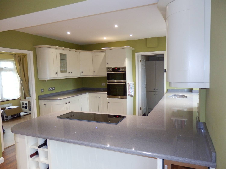 Technistone Starlight Grey Kitchen Worktops CCG Worktops Surrey - Grey kitchen white worktop